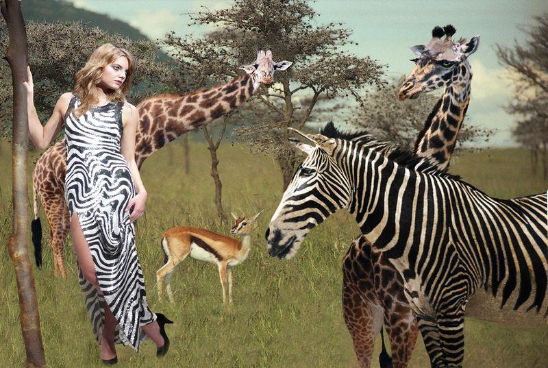 La femme zèbre et les animaux