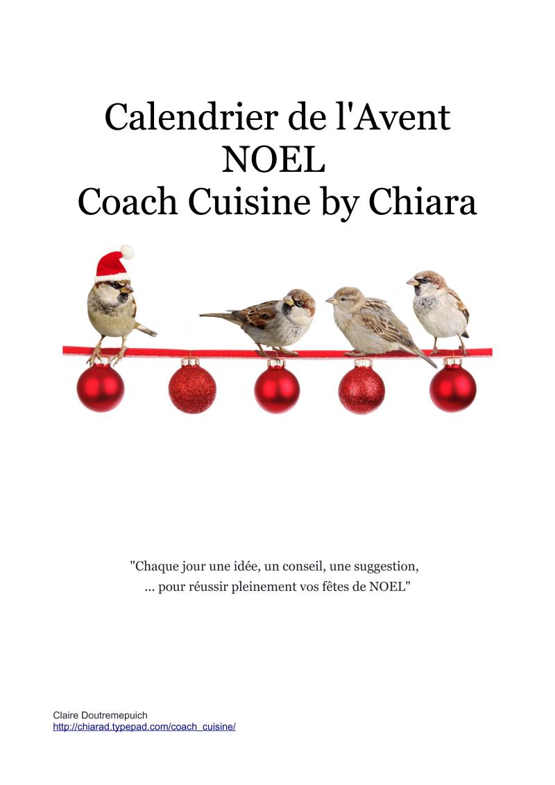 Calendrier de l'Avent Noel  Coach Cuisine by Chiara